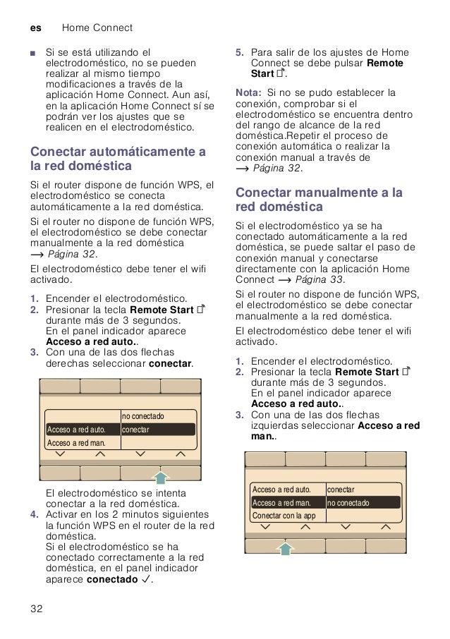 es Home Connect 32 ■ Si se está utilizando el electrodoméstico, no se pueden realizar al mismo tiempo modificaciones a tra...
