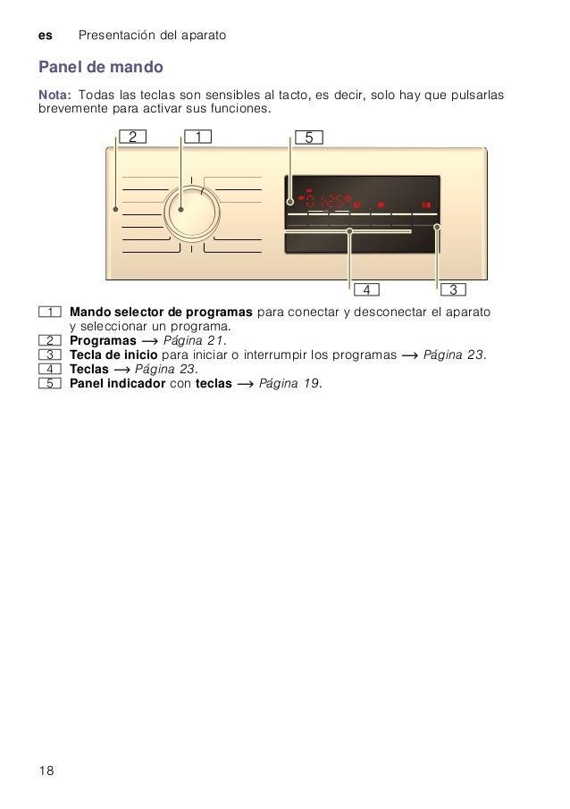 es Presentación del aparato 18 Panel de mando Nota: Todas las teclas son sensibles al tacto, es decir, solo hay que pulsar...