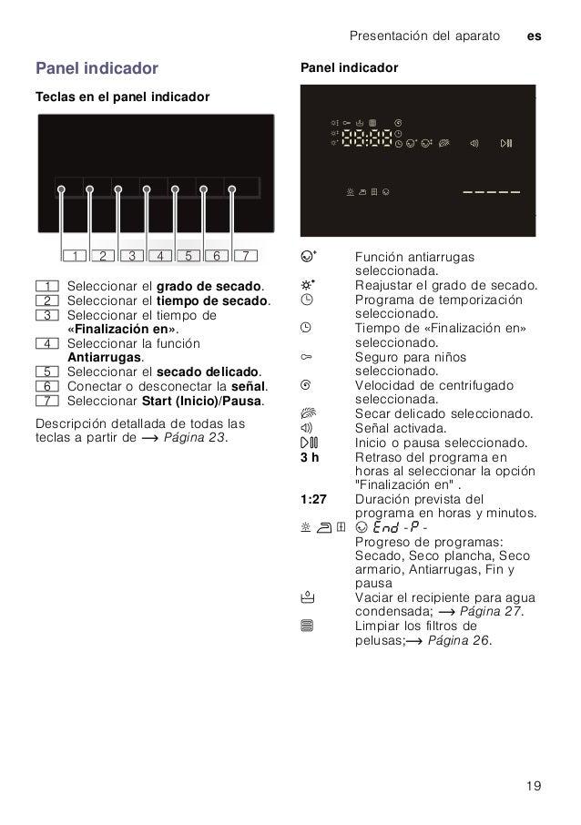 Presentación del aparato es 19 Panel indicador Teclas en el panel indicador Descripción detallada de todas las teclas a pa...