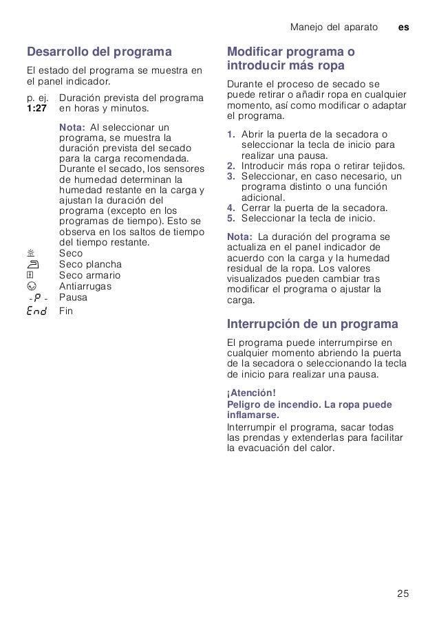 Manejo del aparato es 25 Desarrollo del programa El estado del programa se muestra en el panel indicador. Modificar progra...