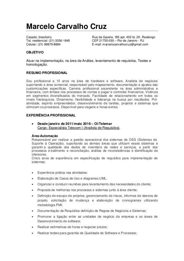 Marcelo Carvalho Cruz Casado, brasileiro, Rua da Gazela, 185 apt. 402 bl. 25- Realengo Tel. residencial: (21) 3336-1845 CE...