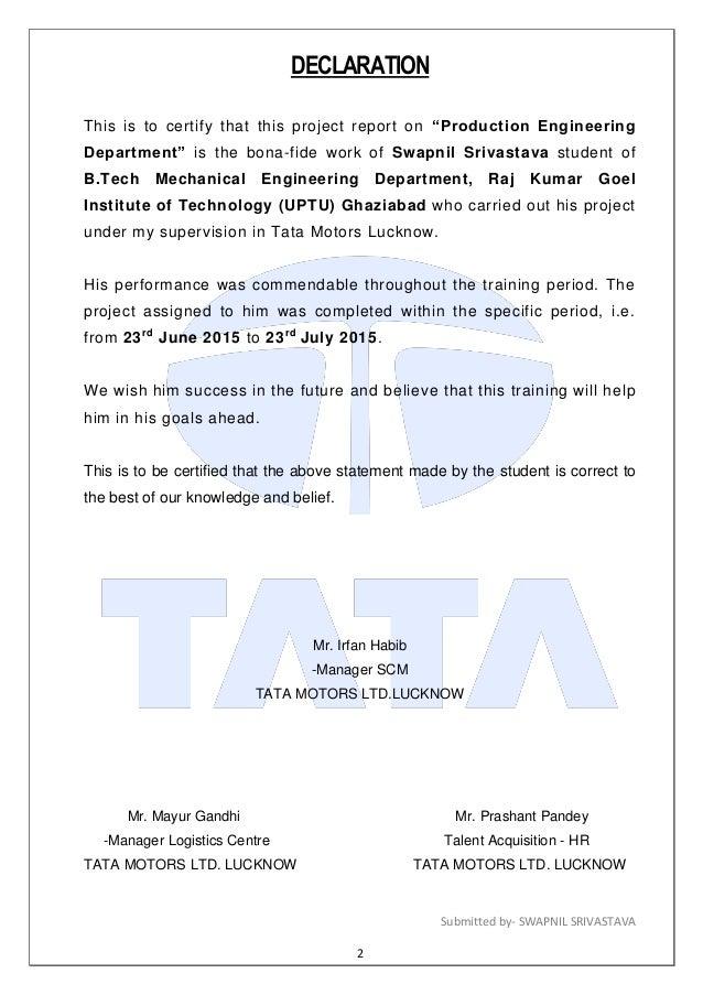 Tata proj for Internship for mechanical engineering students in tata motors