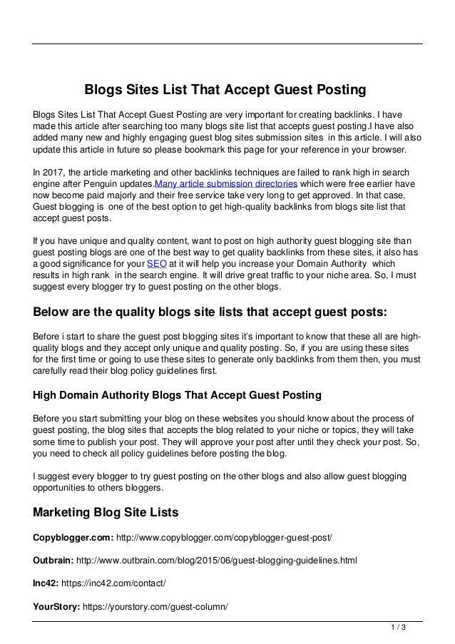 Blogs Sites List That Accept Guest Posting