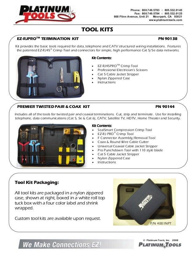 w//Zip Case Platinum Tools 90122 Twisted Pair Termination Kit Box.