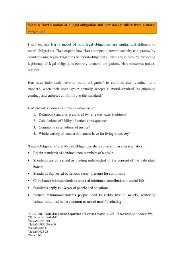 Essays About English Language What Is Harts Notion Of A Legal Obligation And How Does It Differ From A  Moral  Health Essays also Essay About English Class  Hartessayonlegalobligationsandmoralobligationsandun Proposal Essay Outline