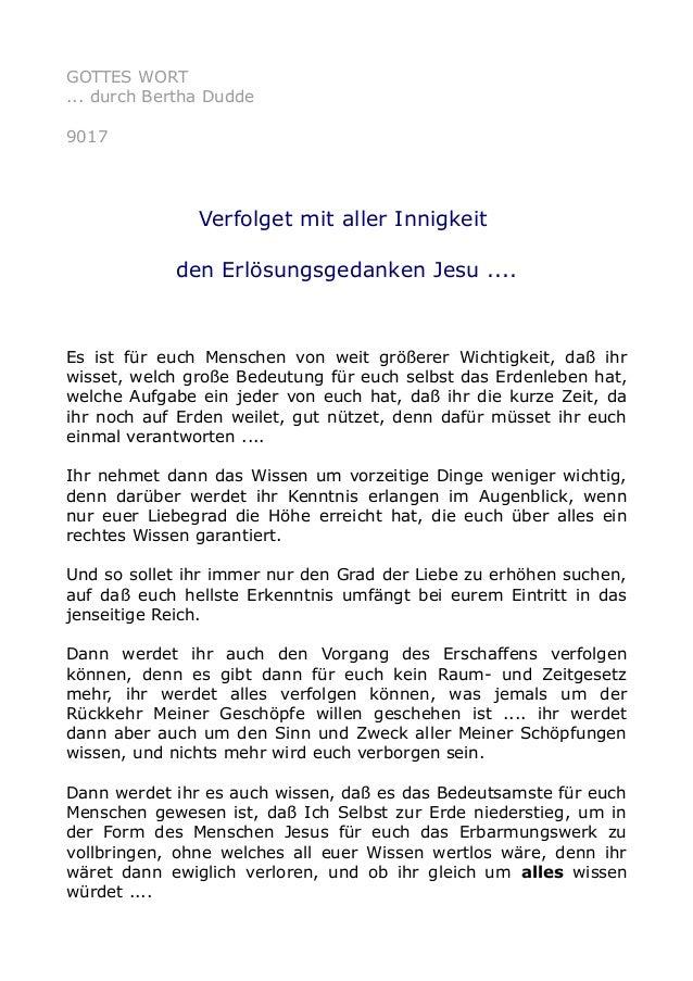 GOTTES WORT ... durch Bertha Dudde 9017 Verfolget mit aller Innigkeit den Erlösungsgedanken Jesu .... Es ist für euch Mens...