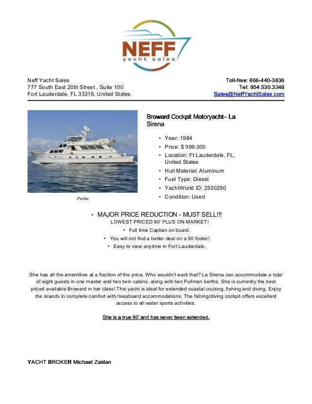 Neff Yacht Sales                                                                          Toll-free: 866-440-3836777 South...