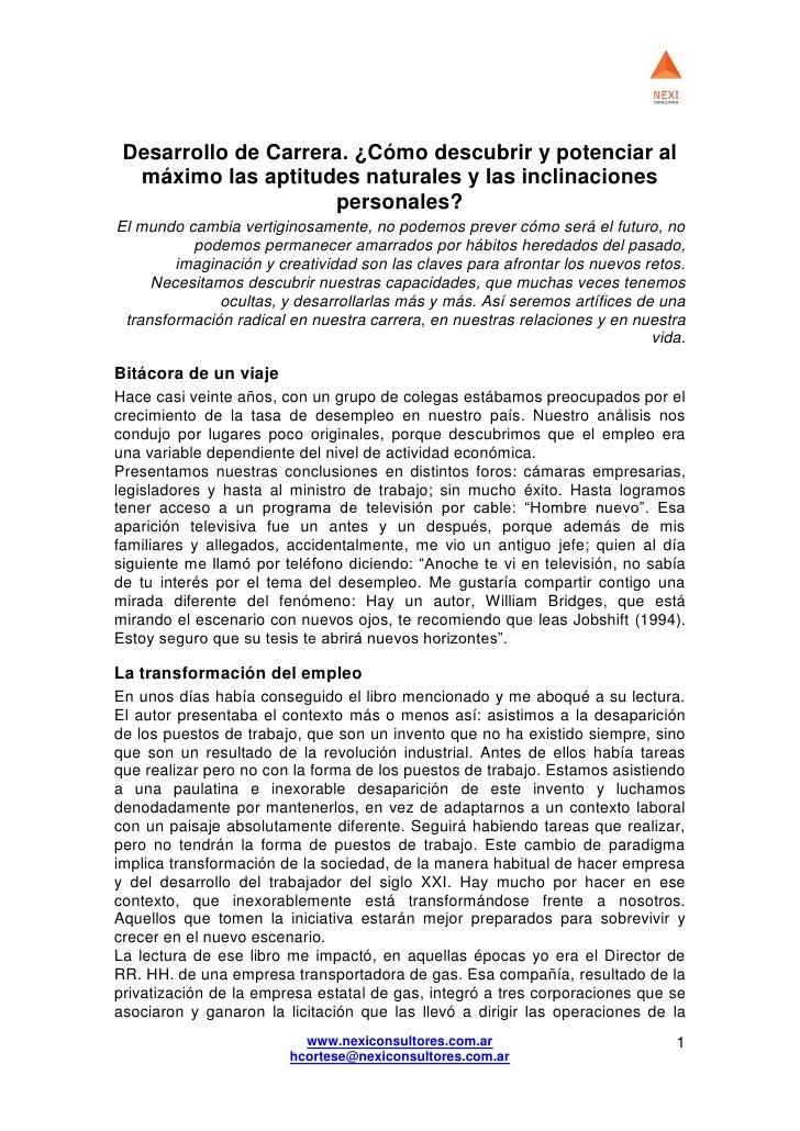 Desarrollo de Carrera. ¿Cómo descubrir y potenciar al  máximo las aptitudes naturales y las inclinaciones                 ...