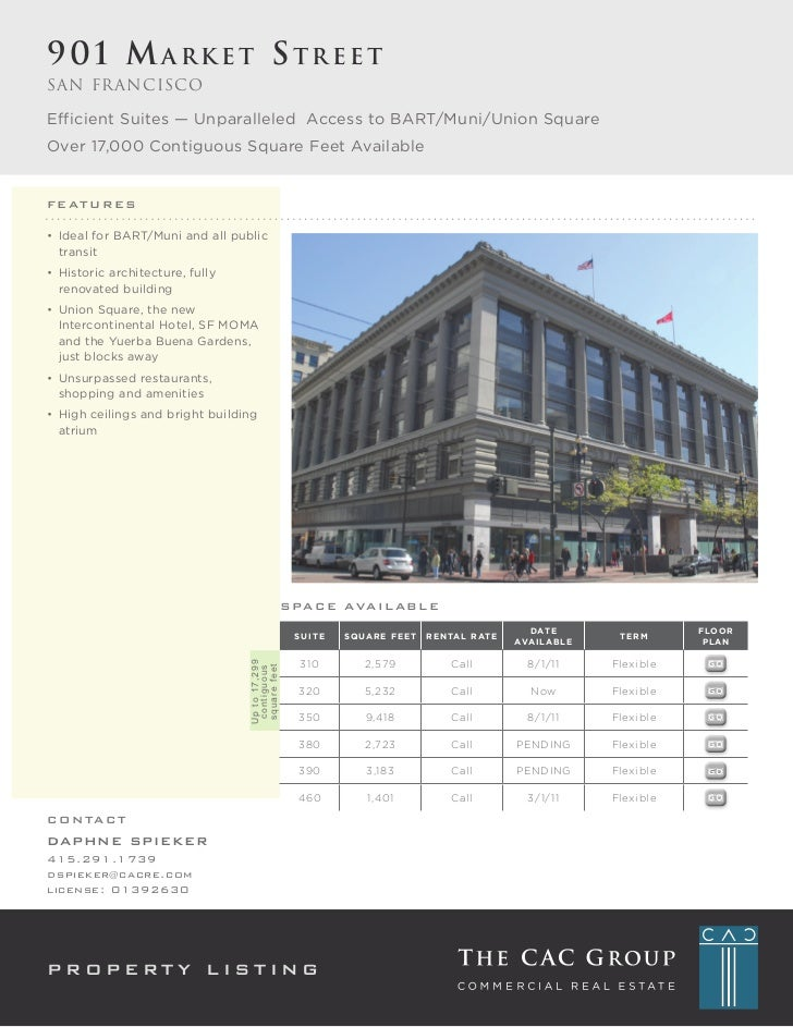 901 Market StreetSan FranciscoEfficient	Suites	—	Unparalleled		Access	to	BART/Muni/Union	SquareOver	17,000	Contiguous	Squa...