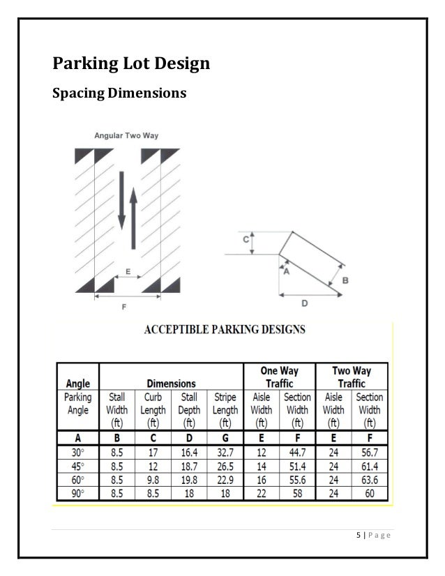 5   P a g e Parking Lot Design Spacing Dimensions. Seafarer s Center Parking Lot