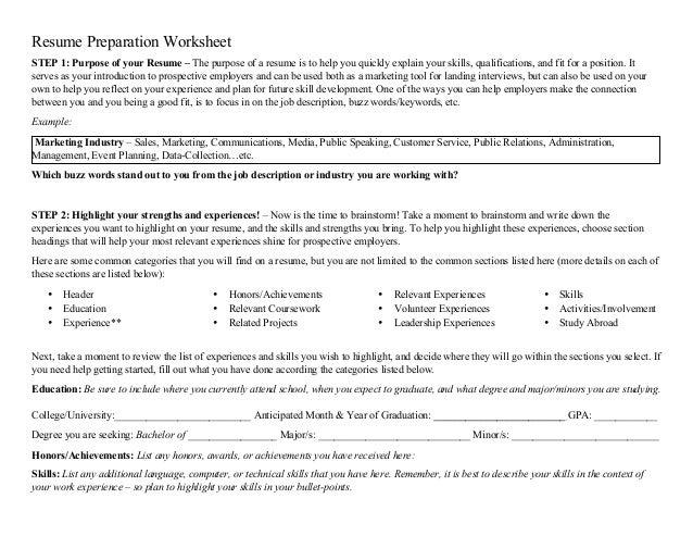 Resume Prep Worksheet .  Resume For Career Fair