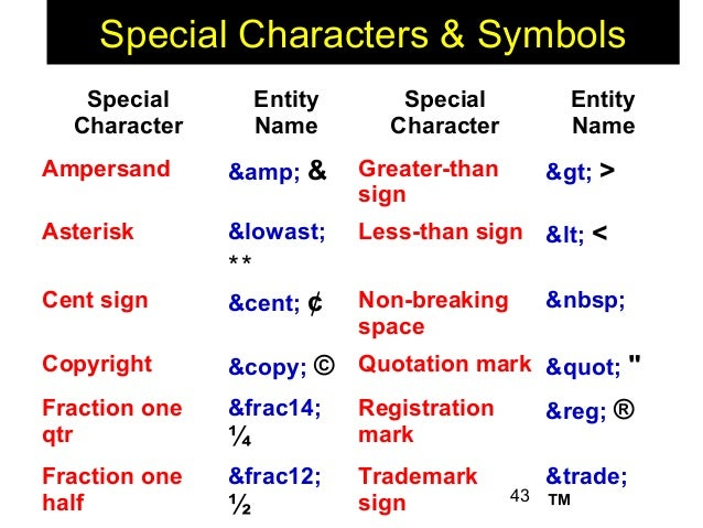 Symbols For Name Html Clipart Library