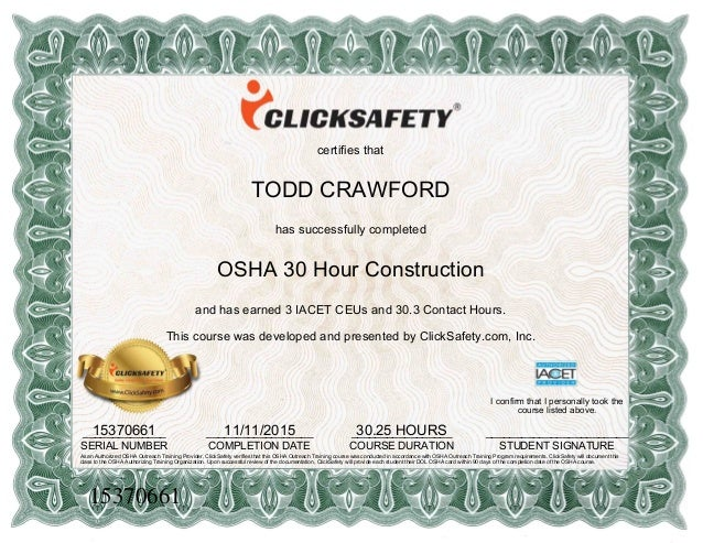Osha 30 hour certificate 1 for Osha 10 certificate template