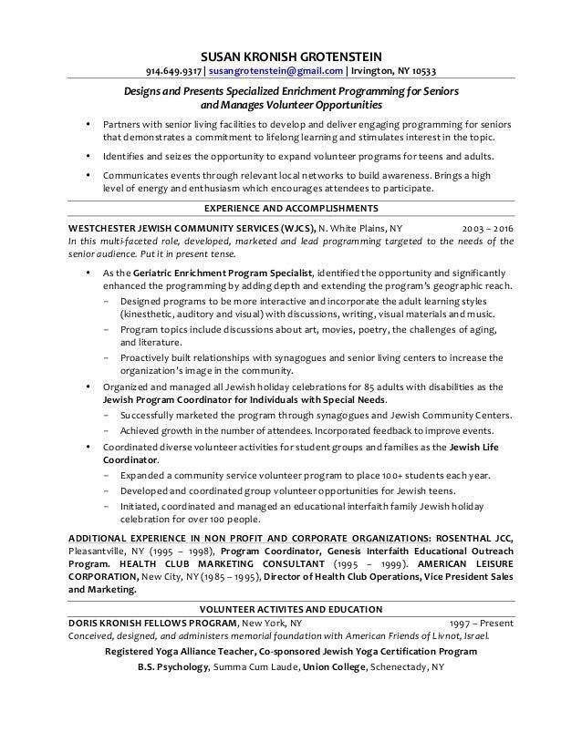 SUSAN KRONISH GROTENSTEIN Resume