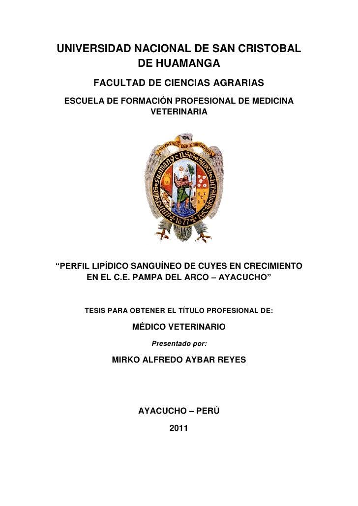 UNIVERSIDAD NACIONAL DE SAN CRISTOBAL            DE HUAMANGA       FACULTAD DE CIENCIAS AGRARIAS ESCUELA DE FORMACIÓN PROF...