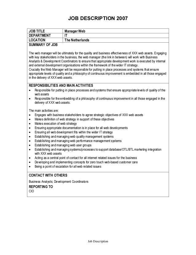 Job Description - Web Manager