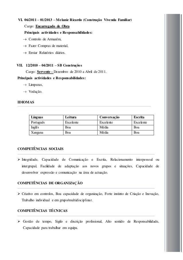 Modelo De Curriculum Vitae Em Mocambique Modelo De Curriculum Vitae