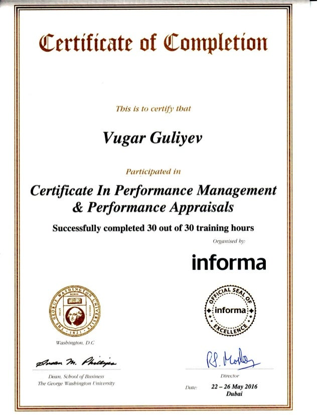 Certificate In Performance Management And Performance Appraisal