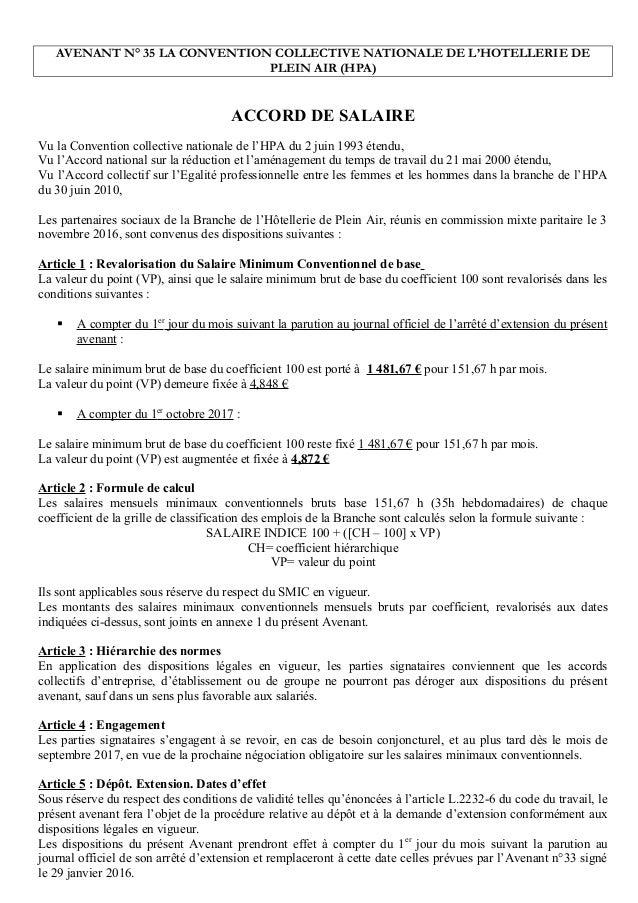 Idcc 1631 Avenant N35 Accord De Salaire