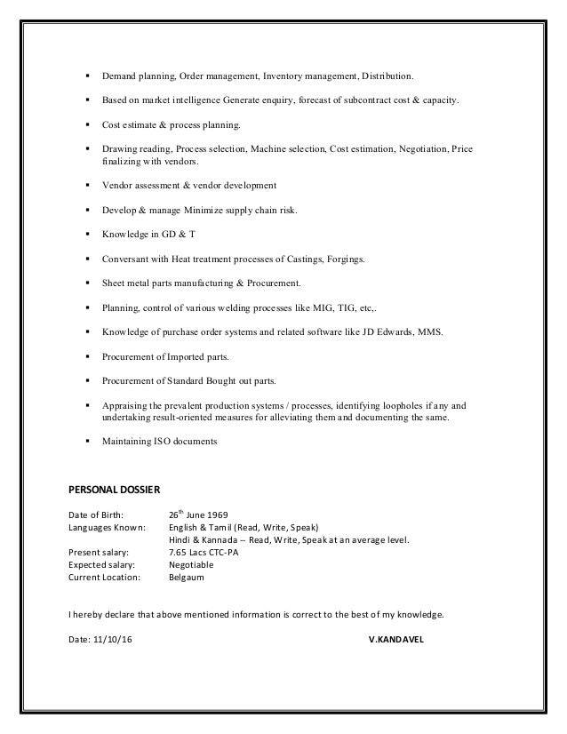 kandavel purchase vendor development manager resume