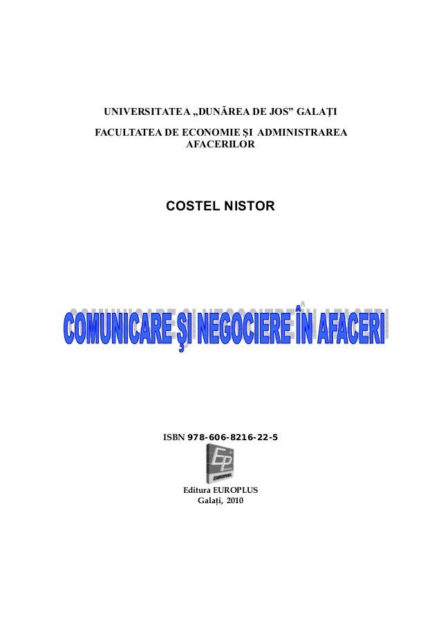 """UNIVERSITATEA """"DUNĂREA DE JOS"""" GALAŢI FACULTATEA DE ECONOMIE ŞI ADMINISTRAREA AFACERILOR  COSTEL NISTOR  ISBN 978-606-8216..."""