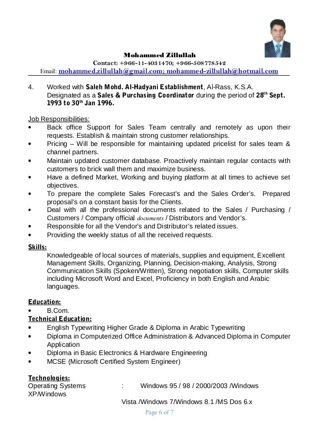 Page 5 Of 7; 6.  Purchasing Manager Resume