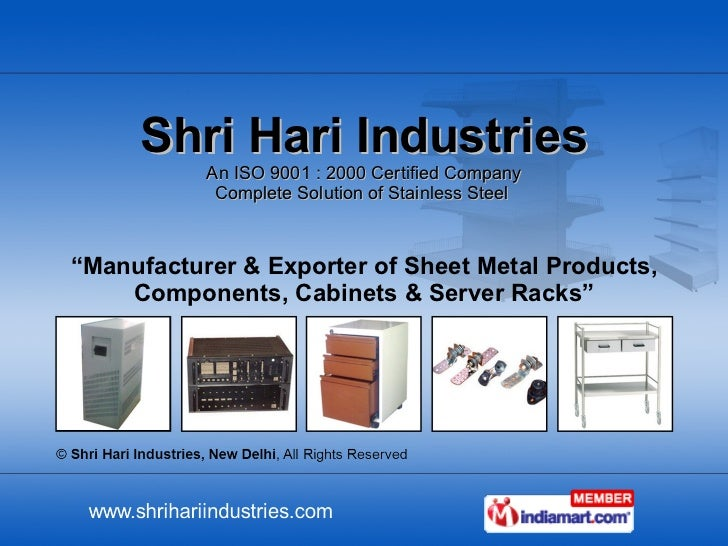 """Shri Hari Industries An ISO 9001 : 2000 Certified Company Complete Solution of Stainless Steel  """" Manufacturer & Exporter ..."""