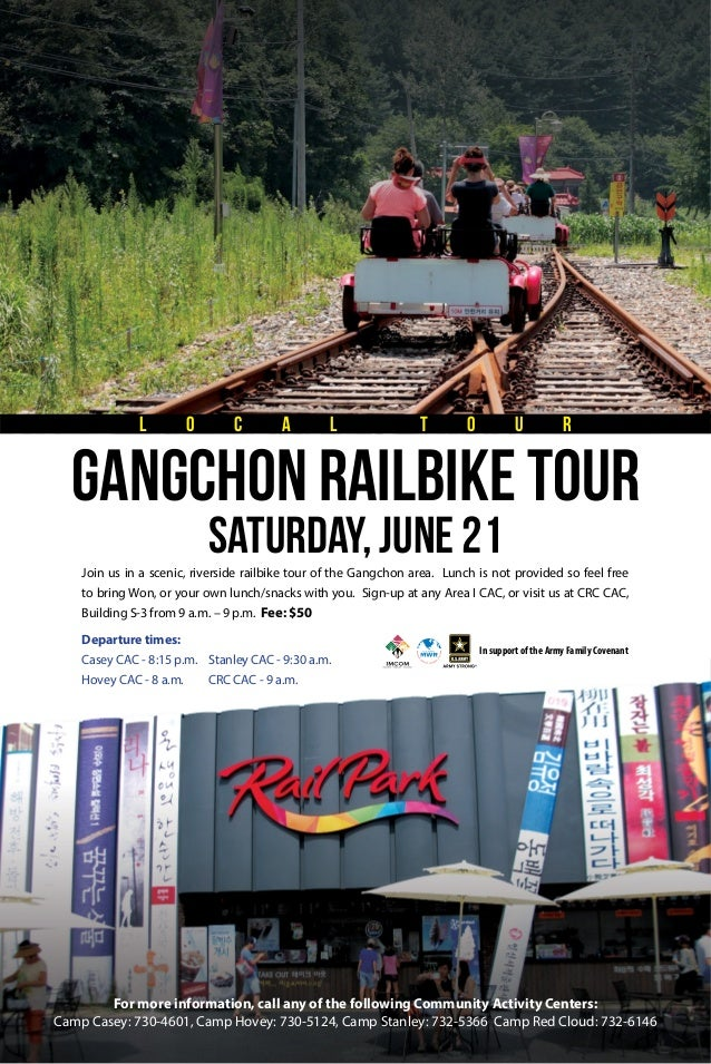 Join us in a scenic, riverside railbike tour of the Gangchon area. Lunch is not provided so feel free to bring Won, or you...