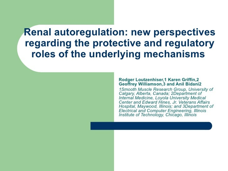 Renal autoregulation: new perspectives regarding the protective and regulatory roles of the underlying mechanisms  Rodger ...