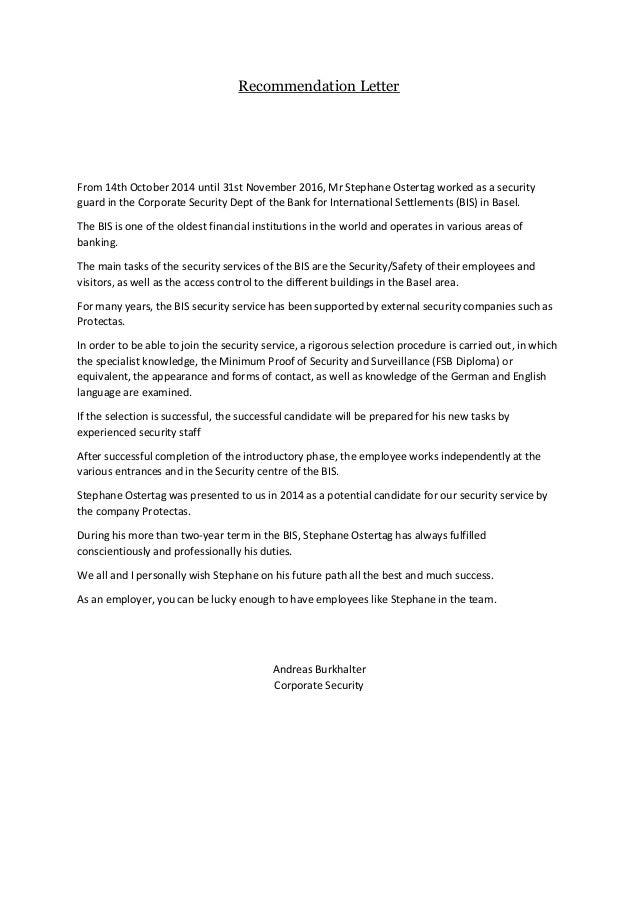 security guard letter of recommendation - Yupar.magdalene ...