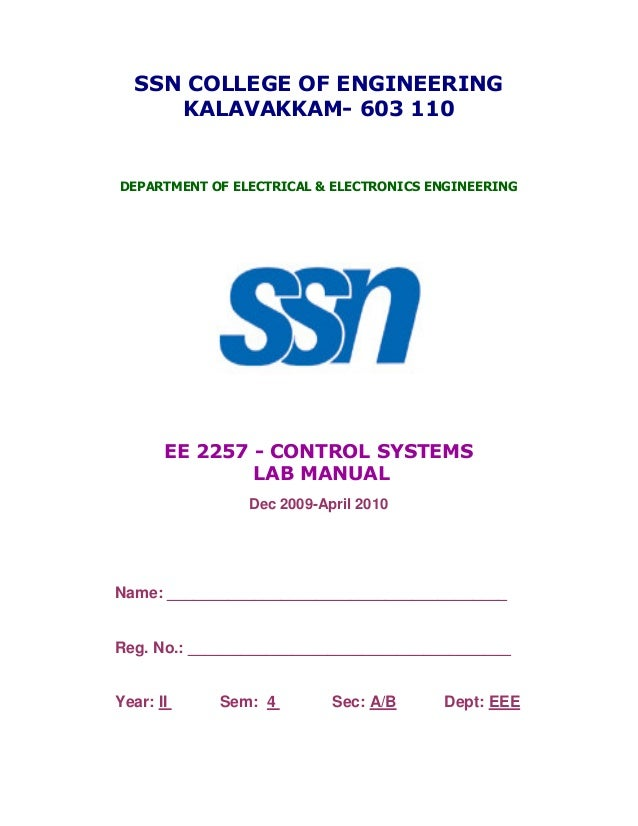 electrical engineering and control system lab manual pdf