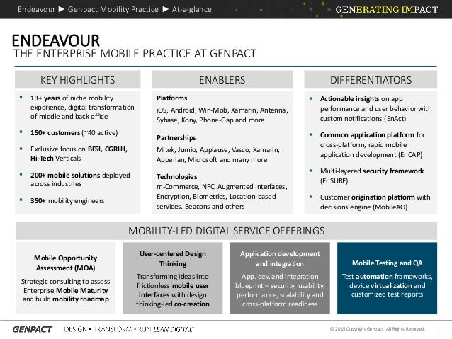 1© 2015 Copyright Genpact. All Rights Reserved. KEY HIGHLIGHTS  13+ years of niche mobility experience, digital transform...