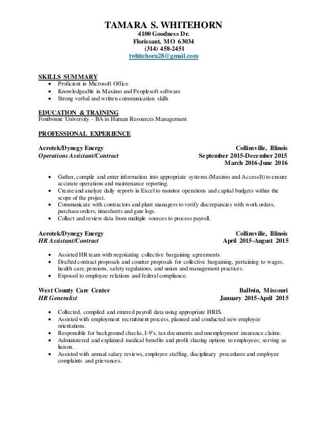 Tamara Whitehorn - Resume 1