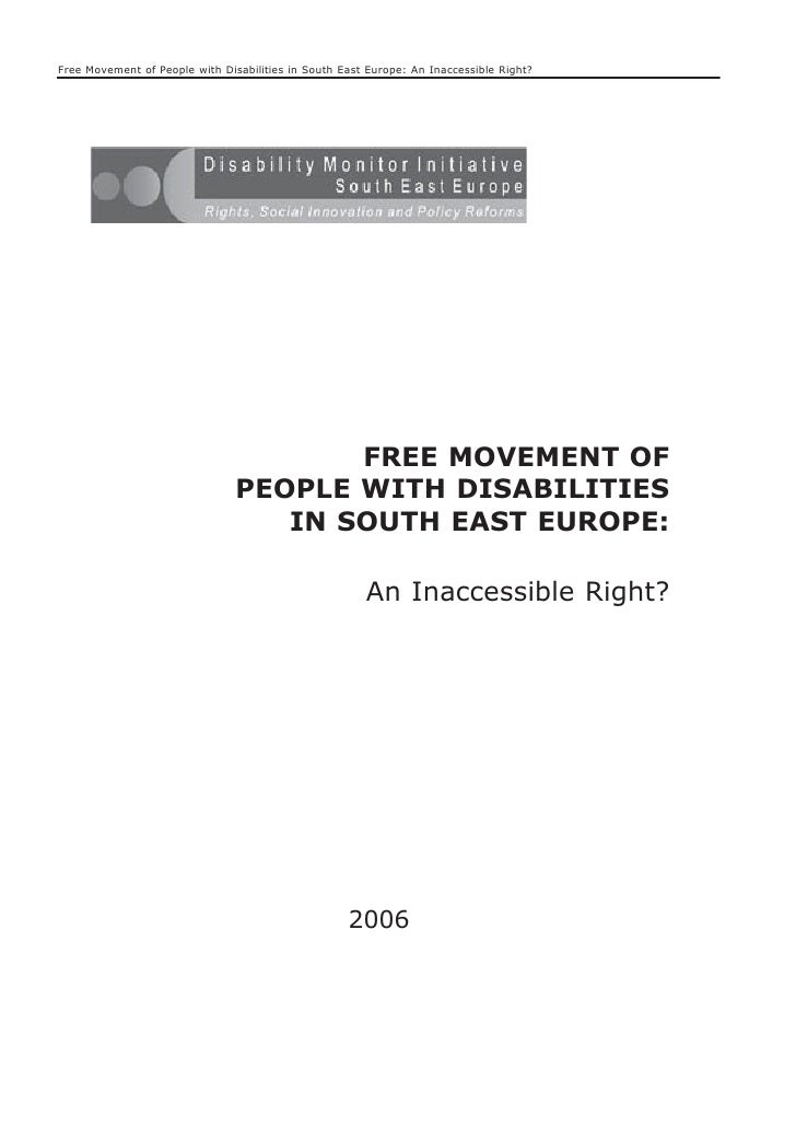 HI 90a - Free movement of people with disabilities in South East Europe : An Inaccessible Right ? (English)