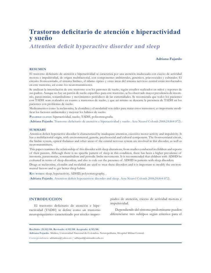 Trastorno deficitario de atención e hiperactividady sueñoAttention deficit hyperactive disorder and sleep                 ...