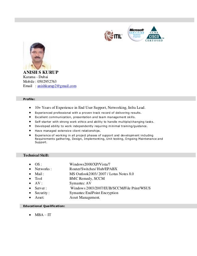 anish kurup cv for technical support jan 2015