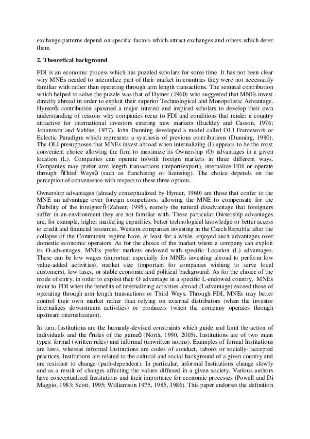 comparative institutional advantage as a determinant of fdi economics essay Comparative institutional advantage as a determinant of fdi economics essay the varieties of capitalism literature proposes a concept of institutional arbitrage: as a result of comparative institutional advantages due to different investment incentives provided by.