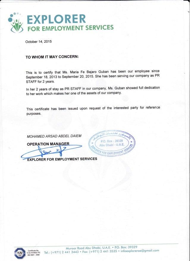 Explorer Employment Certificate