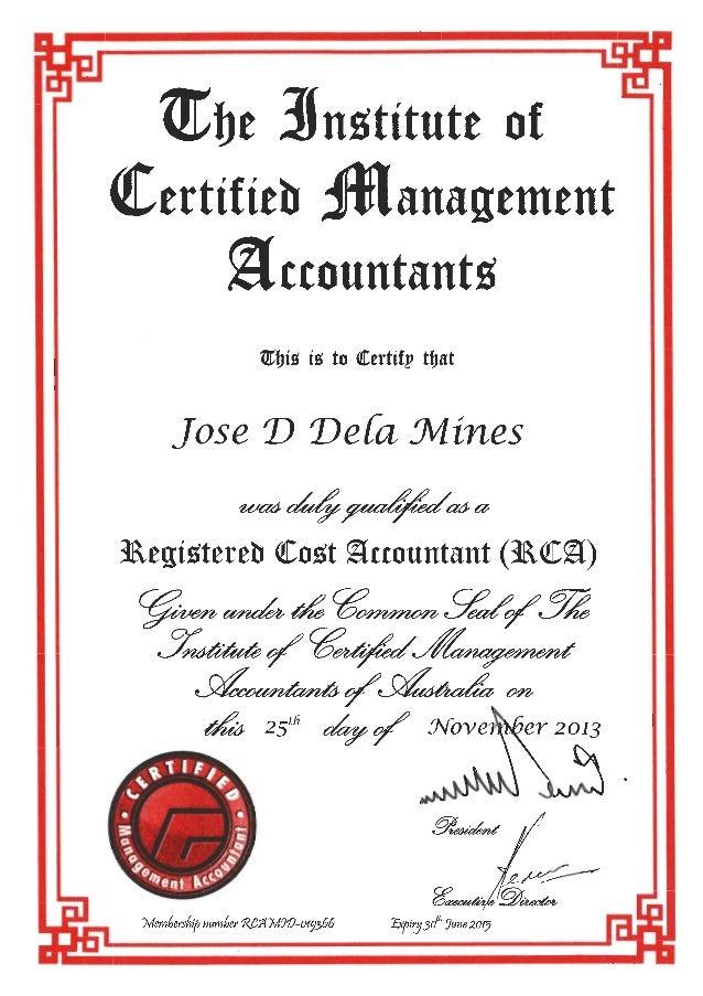 Registered Cost Accountant Icma