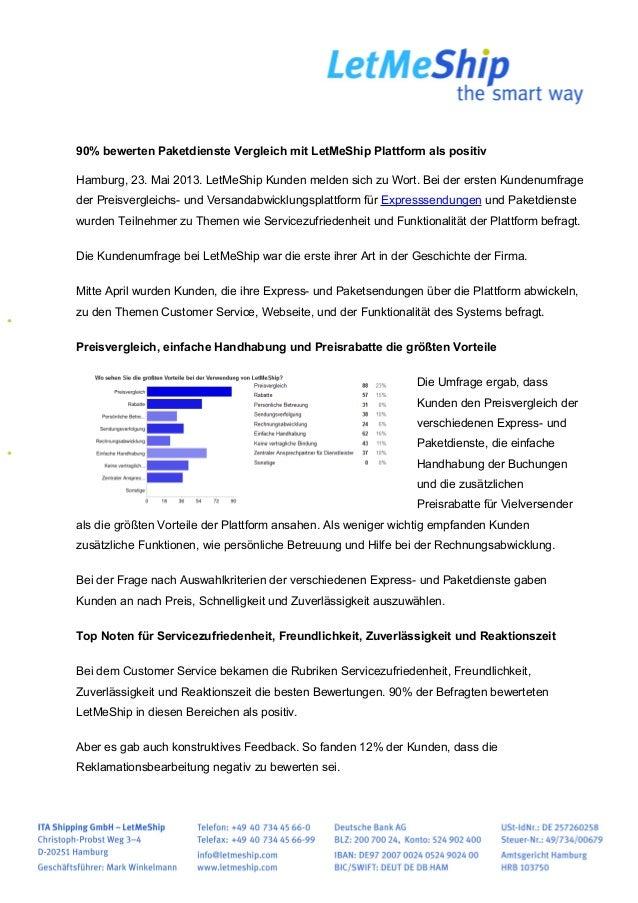 90% bewerten Paketdienste Vergleich mit LetMeShip Plattform als positivHamburg, 23. Mai 2013. LetMeShip Kunden melden sich...