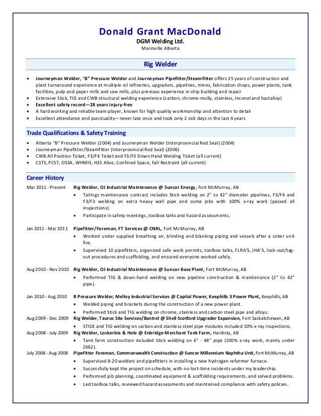 Coating Supervisor Resume  Welder Resume