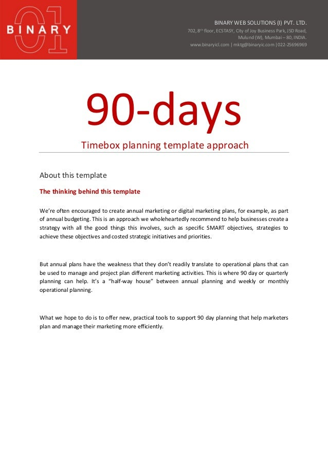 90 day business plan examples sales contract