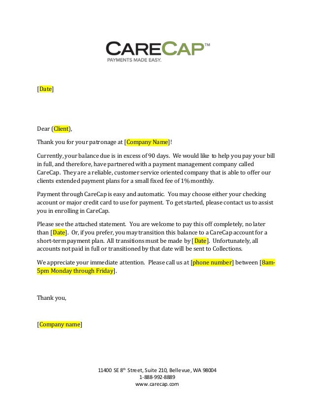 CareCap 90 day past due letter generic