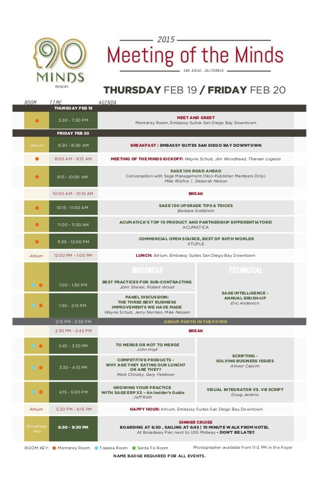 meeting of the minds 2015 agenda