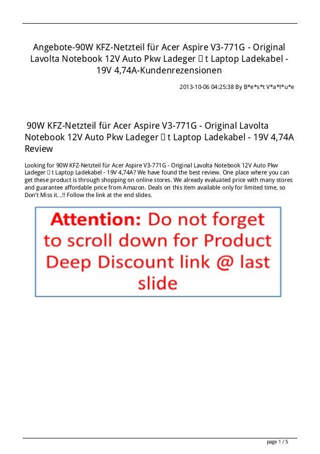 Angebote-90W KFZ-Netzteil für Acer Aspire V3-771G - Original Lavolta Notebook 12V Auto Pkw Ladegerät Laptop Ladekabel - 19...