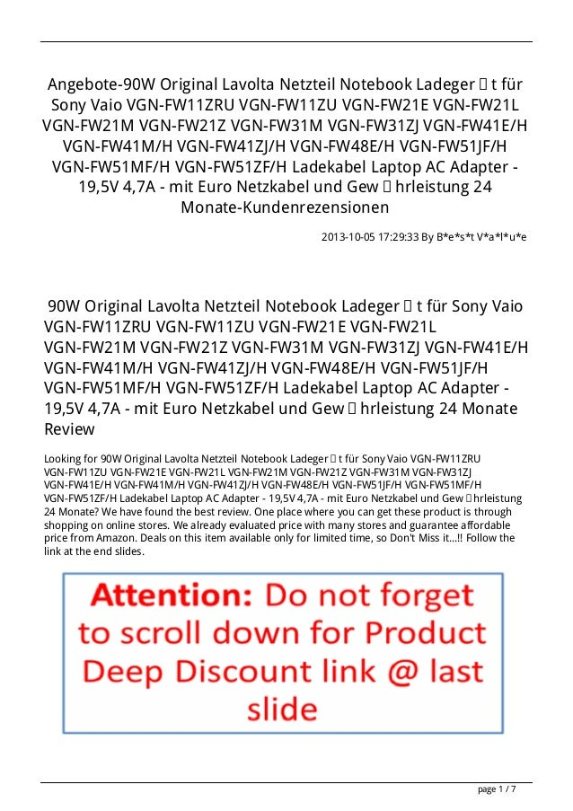 Angebote-90W Original Lavolta Netzteil Notebook Ladegerät für Sony Vaio VGN-FW11ZRU VGN-FW11ZU VGN-FW21E VGN-FW21L VGN-FW2...