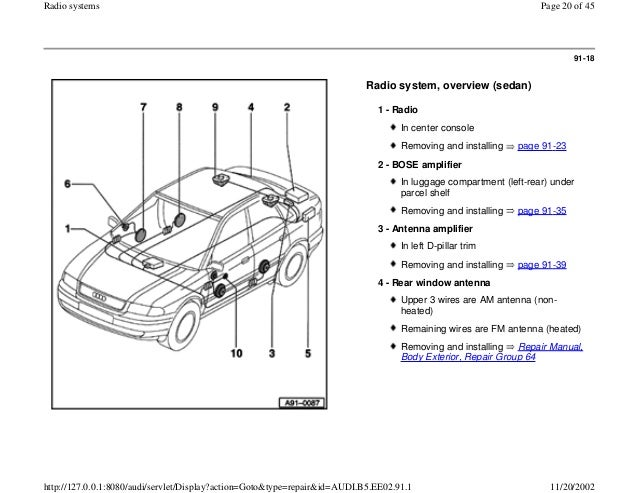 AUDI A4 B5 1 8L 1996 ELECTRICAL EQUIPMENT 91 1 radio system