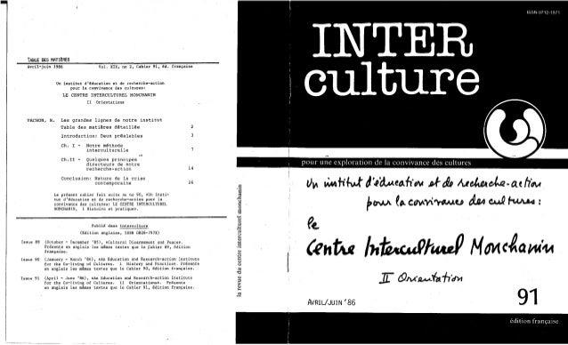 91 le centre interculturel monchanin. cahier i- histoire et pratique. langlais, j., das, k., diallo, y. (document à téle...