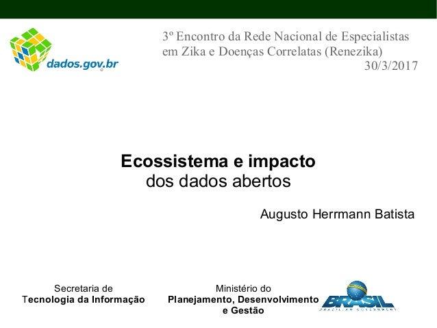Ecossistema e impacto dos dados abertos Augusto Herrmann Batista 3º Encontro da Rede Nacional de Especialistas em Zika e D...