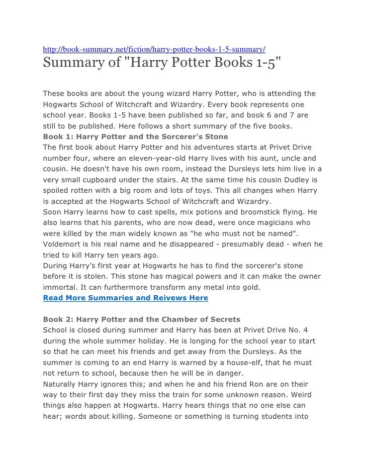 "http://book-summary.net/fiction/harry-potter-books-1-5-summary/Summary of ""Harry Potter Books 1-5""These books are about th..."